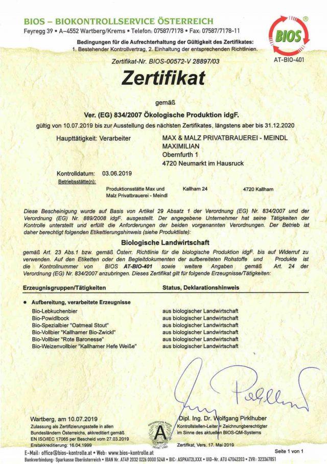 Bio- Zertifikat, Stand 12.2019, BioQs_67600